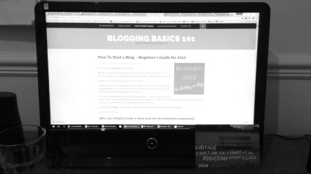 Desktop screen, learning about blogs